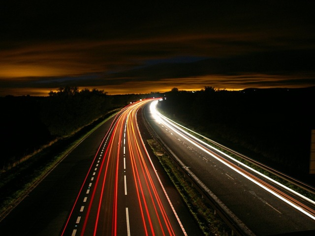Long Exposure Night Highway Motion Traffic Light